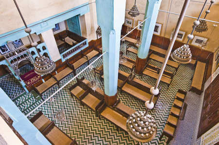 fas: Aben Danan Synagogue interior located at Fez, Morocco Editorial