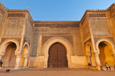 en: Bab Jama en Nouar medina wall door at Meknes, Morocco Stock Photo