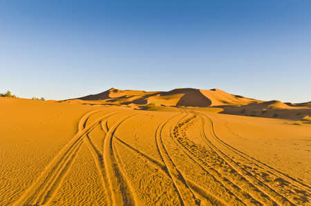 Quad and motorcycles tracks on Erg Chebbi at Morocco photo