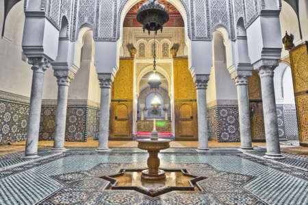 mausoleum: Moulay Ismail Mausoleum interior at Meknes, Morocco