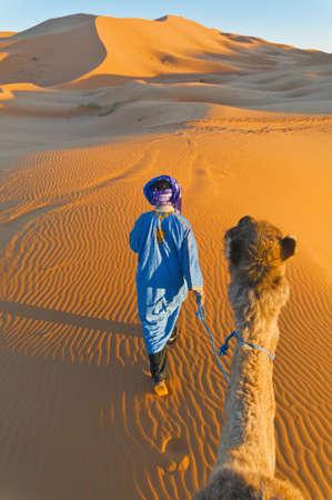 desierto: Berber caminando con camello en las dunas de Erg Chebbi, naranja, Marruecos