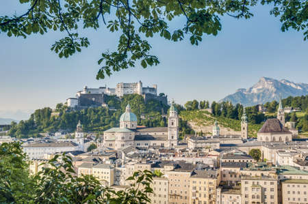 of mozart: After sunrise Salzburg general view as seen from Capuchin Monastery viewpoint(Kapuzinerkloster), Austria