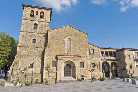 aviles: San Nicolas de Bari church entrance in Aviles, Spain