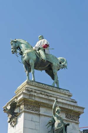 garibaldi: Giuseppe Garibaldi equestrian statue at Milan, Italy Editorial