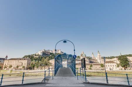 mozart: Mozart bridge (Mozartsteg) across Salzach river at Salzburg, Austria
