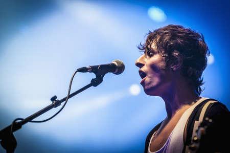 merce: BARCELONA - SEP 21: Guitarist Edgar Regincos of spanish catalan band Amelie performs at the Hard Rock Rocks La Merce concert within La Merce celebrations on September 21, 2012 in Barcelona, Spain