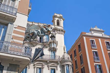the ramblas: Quadros house facade located at Ramblas street in Barcelona, Spain Stock Photo