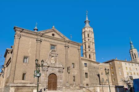 mudejar: San Juan de los Panetes Church tower at Zaragoza, Spain Stock Photo