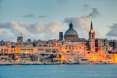 Valletta seafront skyline view as seen from Sliema shoreline, Malta