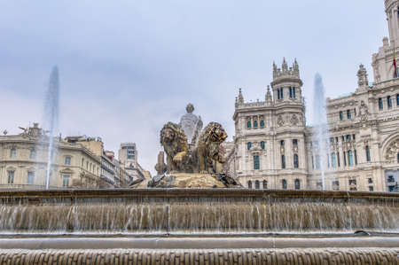 Cibeles Fountain located downtown Madrid, Spain photo