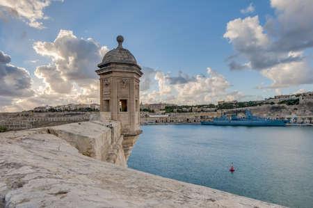 Fort Saint Michael gardjola (watch tower) in Senglea, Malta Stock Photo