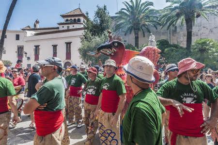 festividad: SITGES, SPAIN - AUG 23: Aliga fantastic figure on Cercavila performance within the Festa Major celebrations Aug 23, 2012 in Sitges, Spain. Editorial