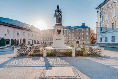 of mozart: Mozart statue on Mozart Square (Mozartplatz) located at Salzburg, Austria