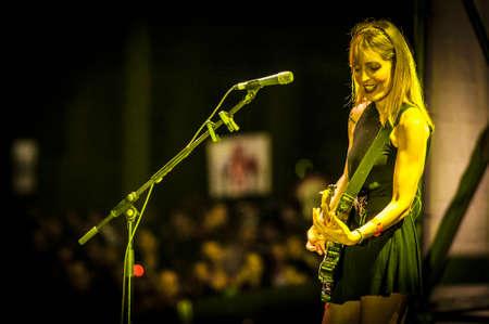 merce: BARCELONA - SEP 22: Amparo Llanos member of Dover performs at the Hard Rock Rocks La Merce concert within La Merce celebrations on September 22, 2012 in Barcelona, Spain