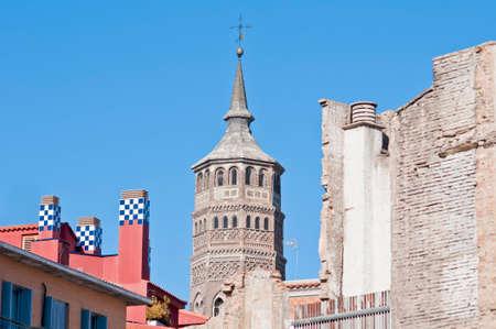 zaragoza: San Pablo Church tower at Zaragoza, Spain Stock Photo