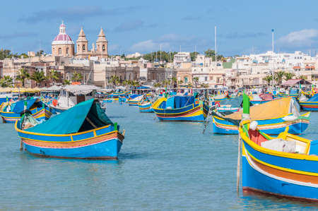 Harbor of Marsaxlokk, a traditional fishing village located in the south-eastern part of Malta.
