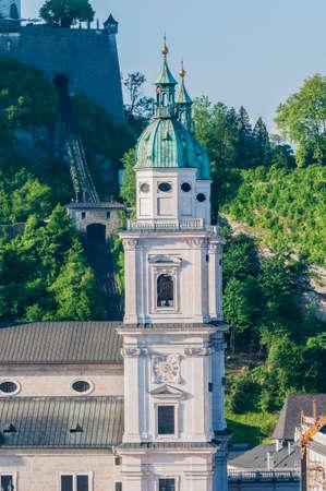 salzach: The Salzburg Cathedral (Salzburger Dom) is a 17th century baroque cathedral dedicated to Saint Rupert at Salzburg, Austria Stock Photo