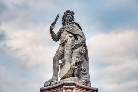 duke: Statue of young Duke Eberhard Ludwig of Wurttemberg at Market Square (Marktplatz) in Ludwigsburg, Germany Stock Photo