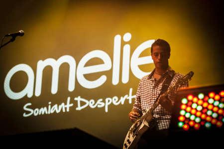merce: BARCELONA - SEP 22: Alex Pla leader of spanish catalan band Amelie performs at the Hard Rock Rocks La Merce concert within La Merce celebrations on September 22, 2012 in Barcelona, Spain