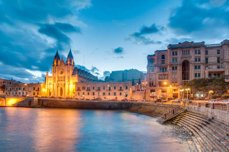 historical sites: Neo-Gothic church of Our Lady of Mount Carmel (Balluta parish church), situated in Balluta bay, Malta