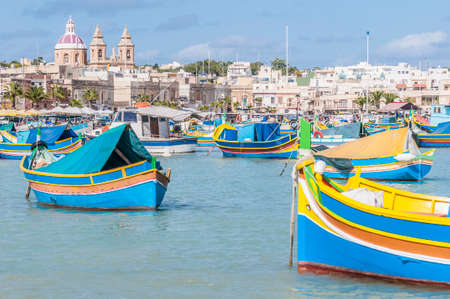 Harbor of Marsaxlokk, a traditional fishing village located in the south-eastern part of Malta. photo