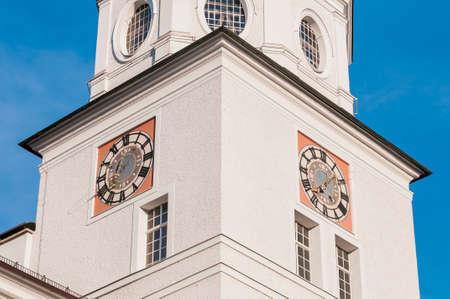 salzach: Carillion (Glockenspiel) located between Mozart Square (Mozartplatz) and Cathedral Square (Domplatz) at Salzburg, Austria