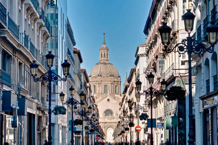 zaragoza: Our Lady of the Pillar Cathedral as seen from Alfonso I street at Zaragoza, Spain