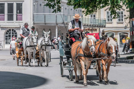 unesco world cultural heritage: Horse carriage on Salzburg streets, Austria