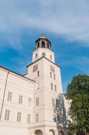 mozart: Carillion (Glockenspiel) located between Mozart Square (Mozartplatz) and Cathedral Square (Domplatz) at Salzburg, Austria