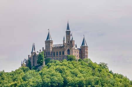 burg: Hohenzollern Castle (Burg Hohenzollern) at the swabian region of Baden-Wurttemberg, Germany