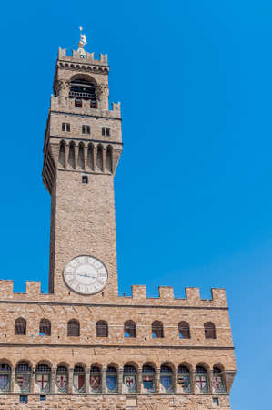 crenellated: The Palazzo Vecchio (Old Palace) a massive, Romanesque, crenellated fortress-palace, is the town hall of Florence, Italy.