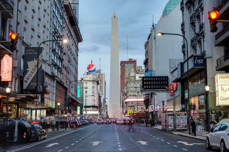 corrientes: BUENOS AIRES, ARGENTINA - APR 09: The Obelisk (El Obelisco), the most recognized landmark in the capital on Apr 09, 2013 in Buenos Aires, Argentina. Editorial
