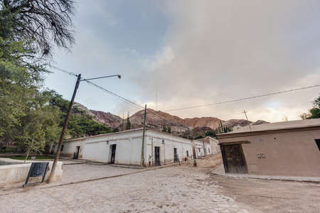siete: Purmamarca streets, near Cerro de los Siete Colores (The Hill of Seven Colors), in the colourful valley of Quebrada de Humahuaca in Jujuy Province, northern Argentina. Stock Photo