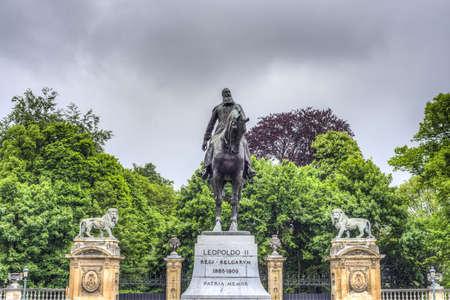 leopold: Statue in Brussels of Leopold II (Léopold Louis Philippe Marie Victor), the King of the Belgians, chiefly remembered for the founding and exploitation of the Congo Free State. Stock Photo