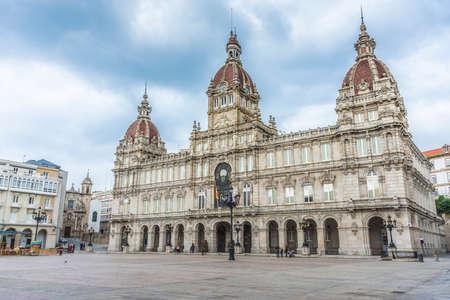 galizia: A Coruna Municipio situato in Piazza Maria Pita in Galizia, in Spagna. Archivio Fotografico