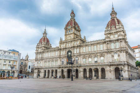 A Coruna Town Hall located on Maria Pita Square in Galicia, Spain.