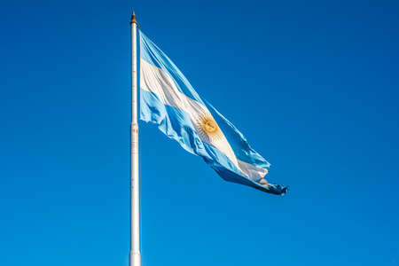 argentinian flag: Argentinian flag waving in Buenos Aires, Argentina.