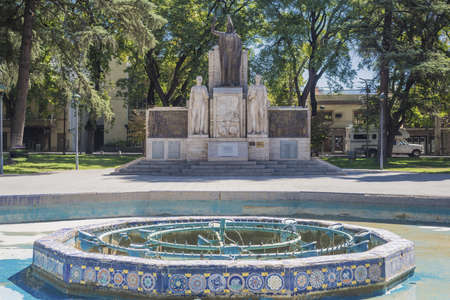 plazas: Italy Square, one of the four smaller plazas located 2 blocks off each corner of Independence Plaza in Mendoza, Argentina.