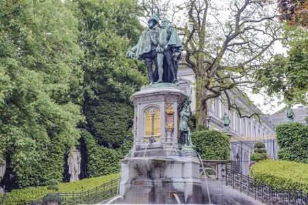 petit: Statue of Egmont and Hoorne on Petit Sablon (Kleine Zavel) Square in Brussels, Belgium Editorial