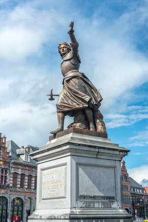 Monument on Grand Place honoring Marie-Christine de Lalaing, who defended Tournai against the Duke of Parma, Alessandro Farnese in 1581 in Tournai, Belgium.