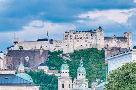 salzach: Hohensalzburg Castle (Festung Hohensalzburg) literally High Salzburg Fortress at Salzburg, Austria Editorial