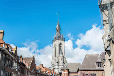 metres: The oldest belfry in Belgium, a freestanding bell tower of medieval origin, 72 metres in height with a 256-step stairway in Tournai. Stock Photo