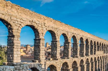 Ancient roman aqueduct of Segovia at Castile and Leon, Spain