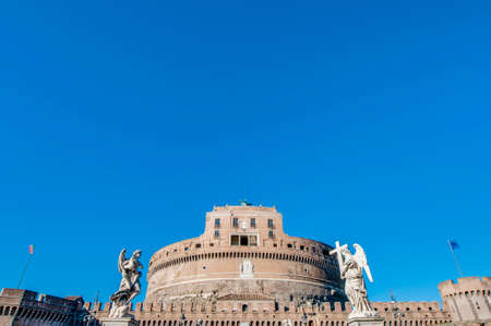 caput: The Mausoleum of Hadrian, usually known as the Castle of the Holy Angel (Castel Sant Angelo), a towering cylindrical building in Parco Adriano, Rome, Italy Editorial