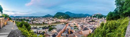 Salzburg skyline as seen from the Monchsberg viewpoint, Austria Stock Photo