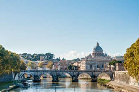caput: Ponte SantAngelo, once the Aelian Bridge or Pons Aelius (Bridge of Hadrian) in Rome, Italy,