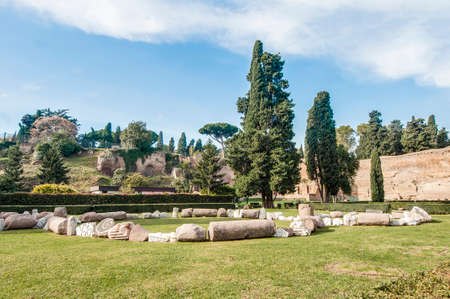 caput: The Baths of Caracalla (Terme di Caracalla) were the second largest Roman public baths, or thermae, built in Rome, Italy Stock Photo