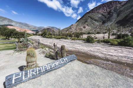 siete: Sign in Purmamarca, near Cerro de los Siete Colores (The Hill of Seven Colors), in the colourful valley of Quebrada de Humahuaca in Jujuy Province, northern Argentina.
