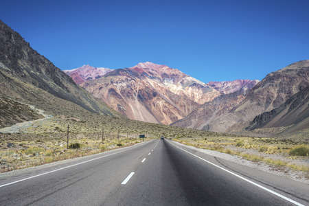 National Road 7 passing by the Department of Lujan de Cuyo in Mendoza, Argentina Stock Photo