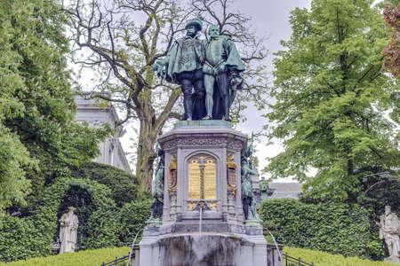 egmont: Statue of Egmont and Hoorne on Petit Sablon (Kleine Zavel) Square in Brussels, Belgium Editorial